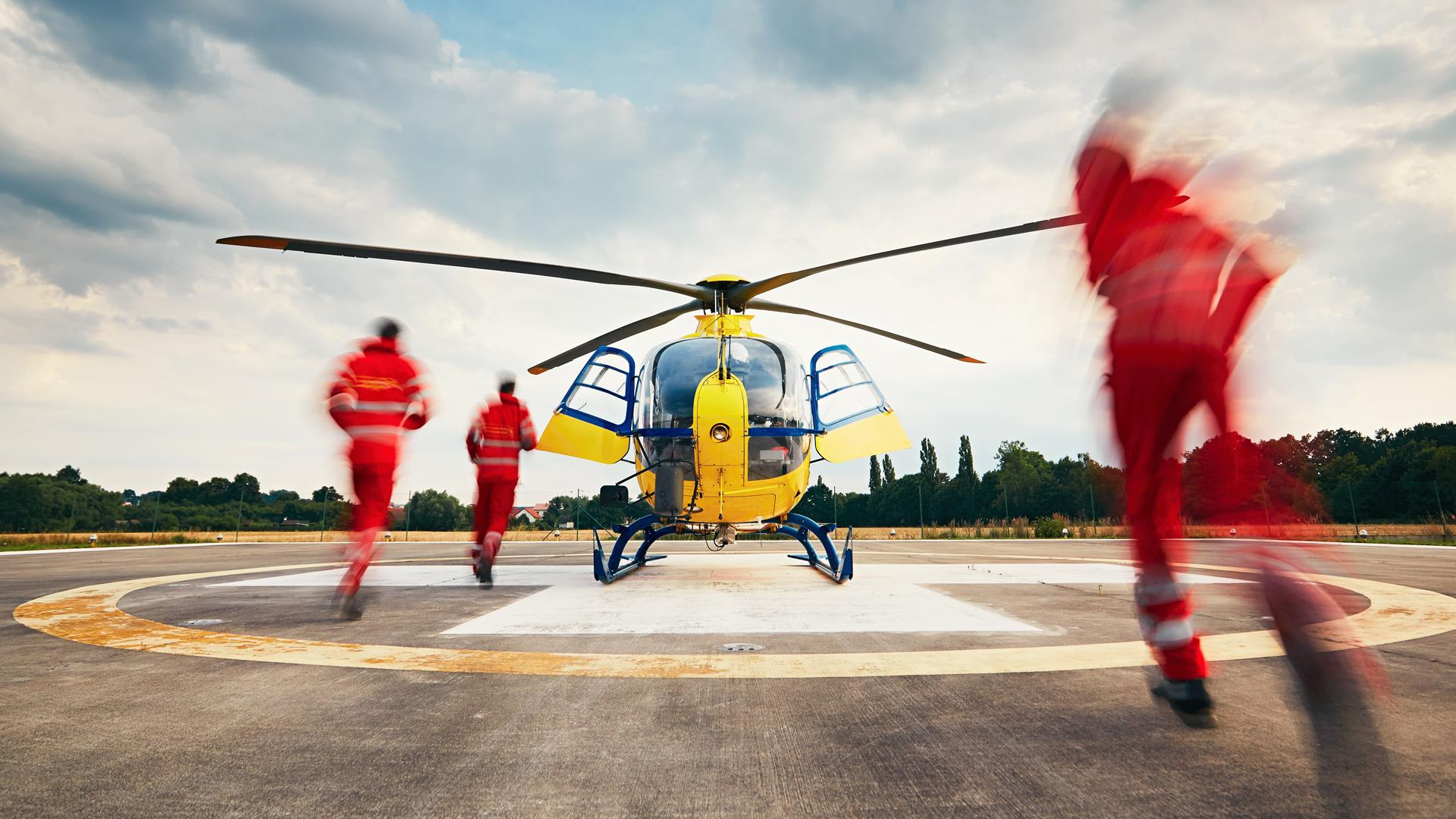An emergency helicopter about to take off