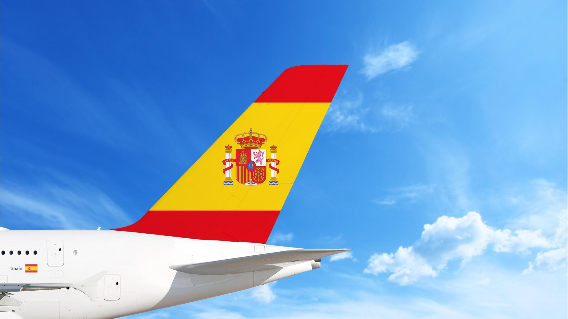 Airplane with the Spanish flag on the tail