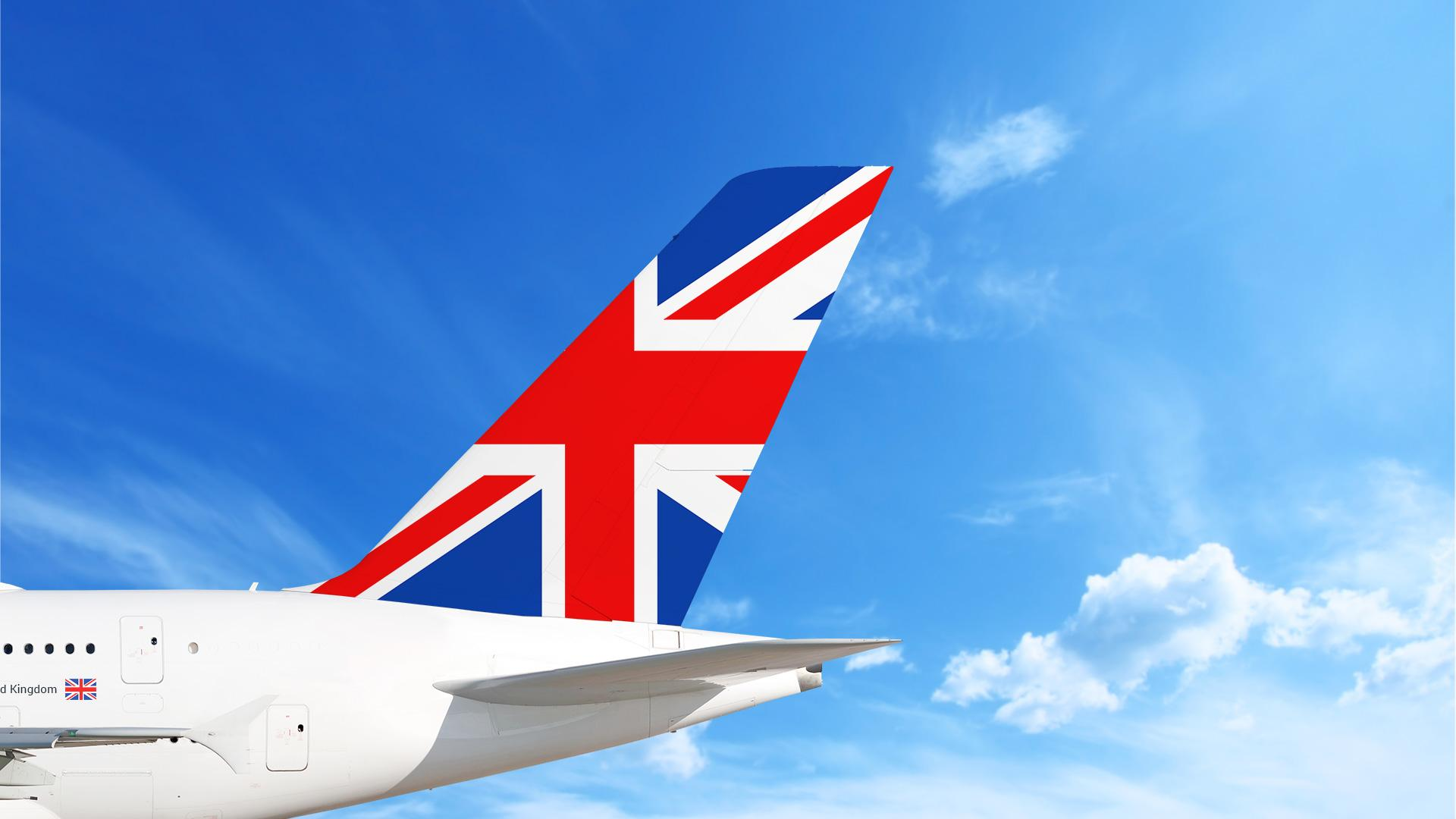 Airplane with Union Jack Flag (UK) on the tail
