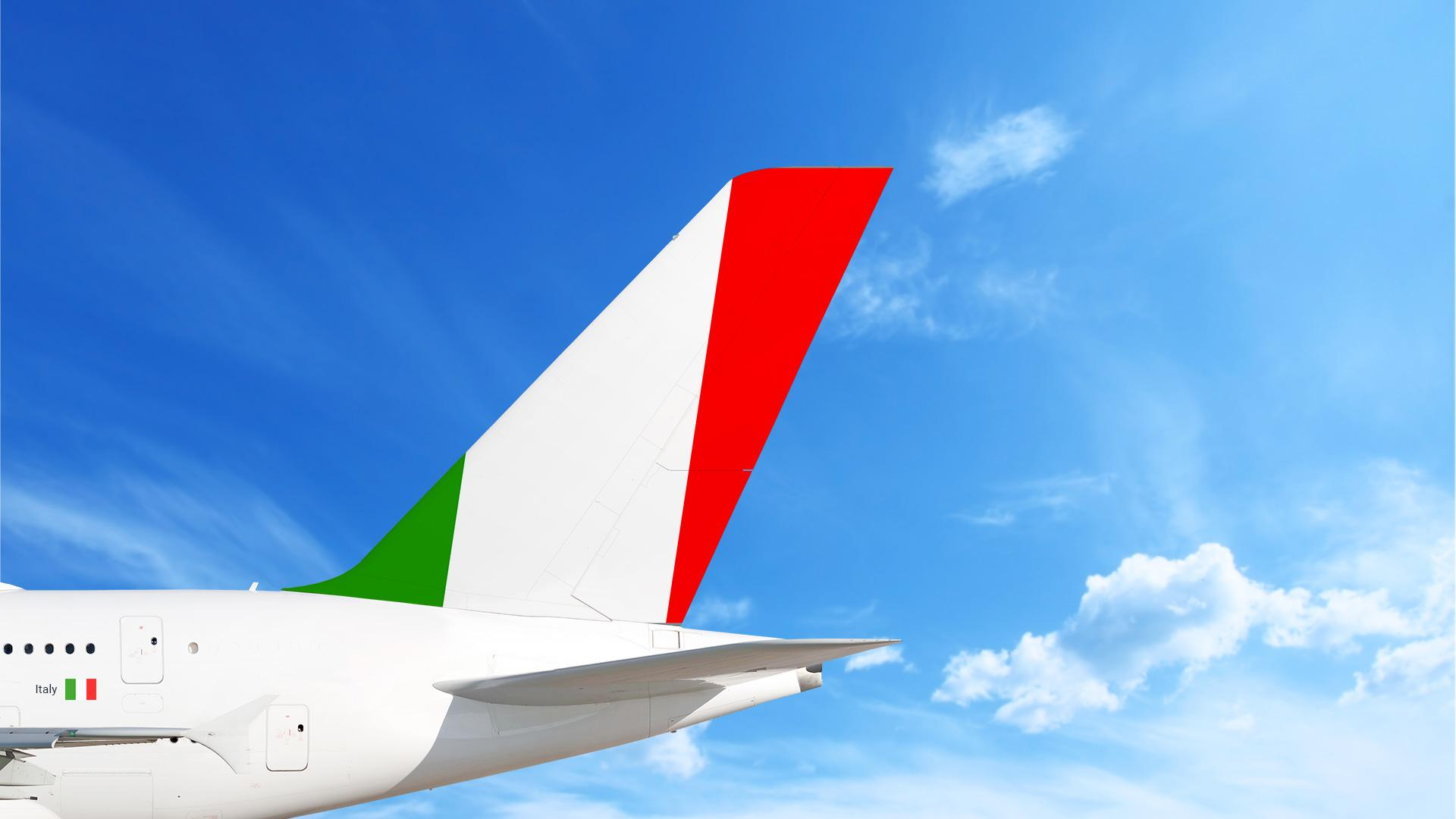 Airplane with Italian flag on tail