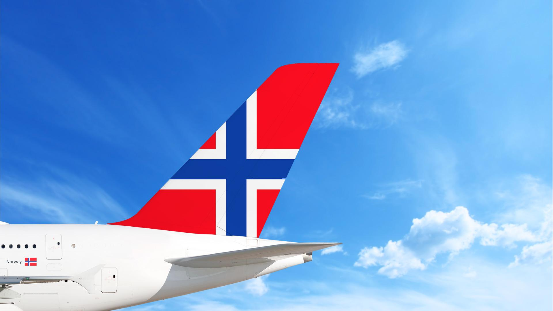 Airplane with Norway flag on the tail.