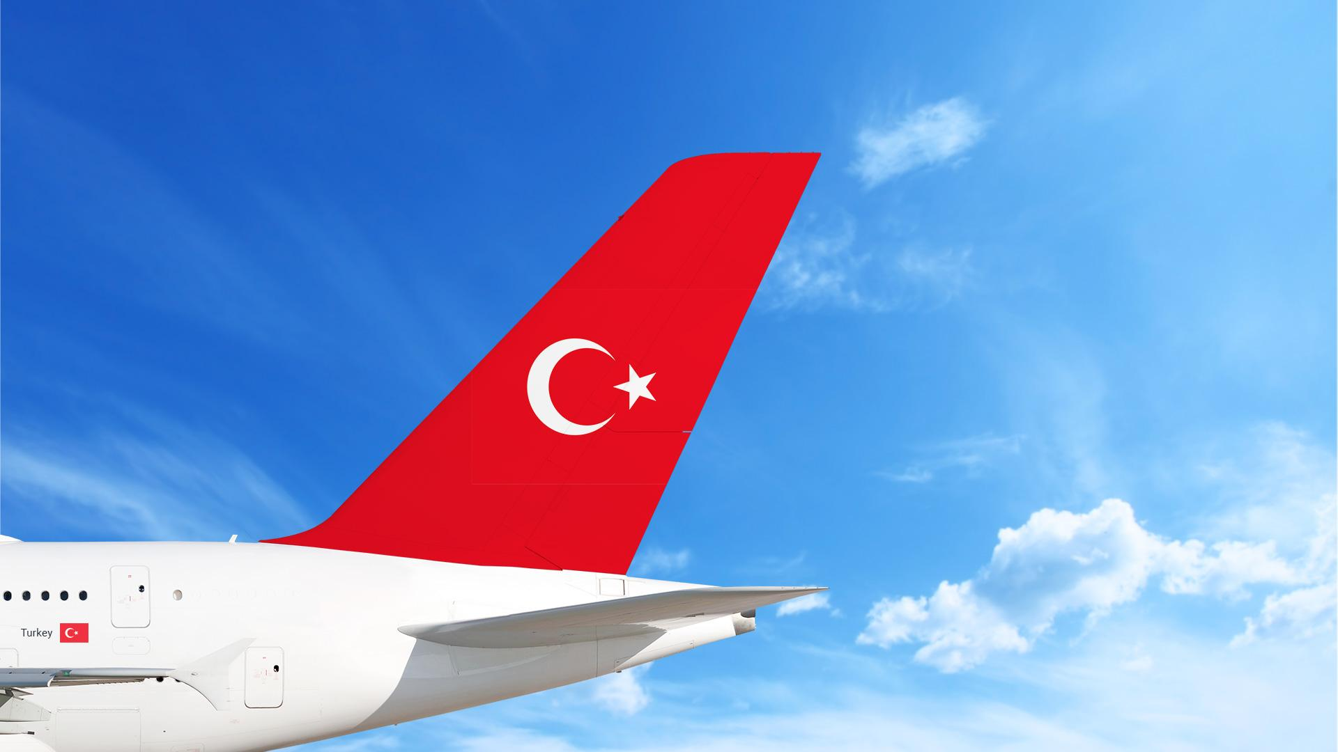 Airplane with Turkey's Flag (TR) on the tail
