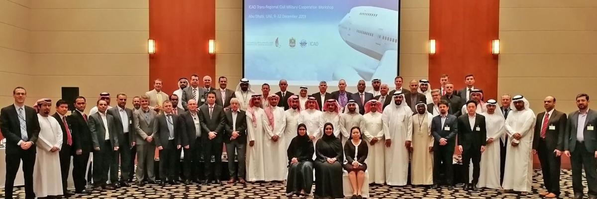 Group photo at the ICAO Regional Civil-Military Cooperation Workshops in Lima and in Abu Dhabi