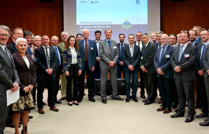Participants at the ECAC Expert Consultation for the European ATM Master Plan launched on 12 April 2018 at EUROCONTROL's Brussels Headquarters.