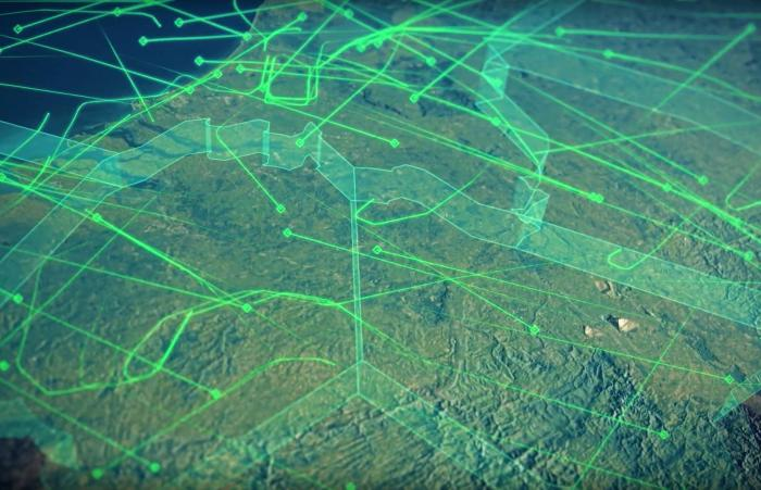 A representation of the complex airspace controlled by the EUROCONTROL Maastricht UAC.
