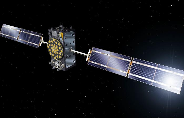 Galileo satellite floating in space.