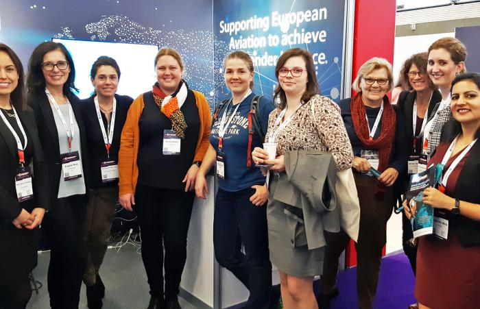 The EUROCONTROL European Women in tech 2019 team on the stand.