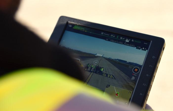 Drone operator looking at screen