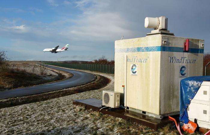 A EUROCONTROL LiDAR installation with an aircraft landing in the background.