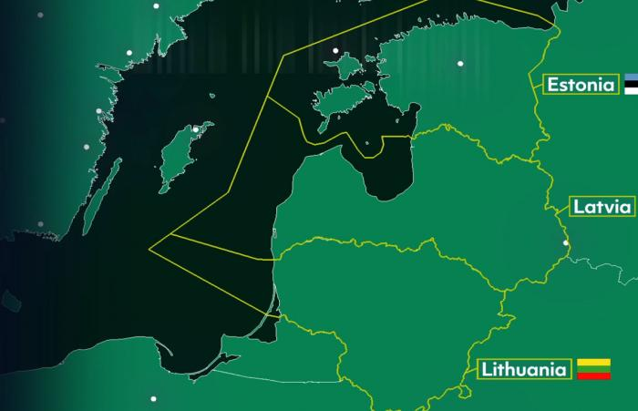 Air traffic over the Baltic states - comparison between 22 April 2020 and 24 April 2019