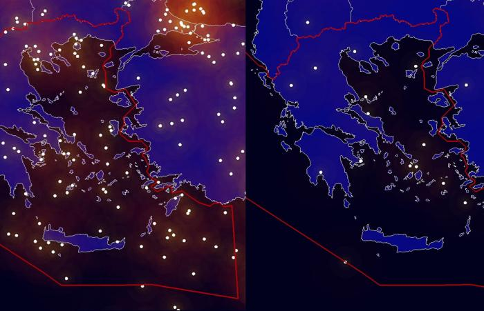 Situation in the Greek sky