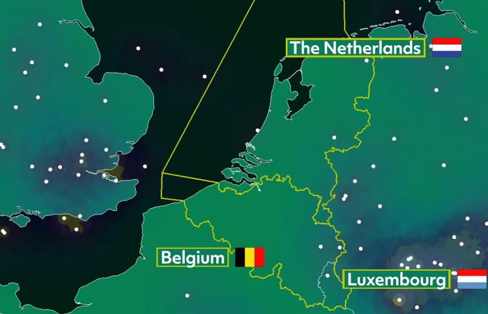 Air traffic situation over the Netherlands, Belgium and Luxembourg