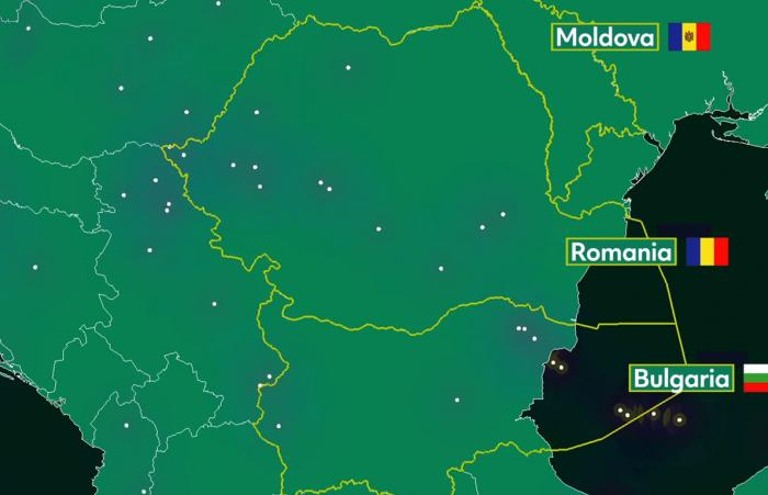 Air traffic situation over Romania, Bulgaria and Moldova