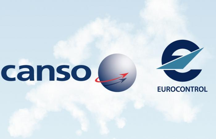 The logos of CANSO and EUROCONTROL