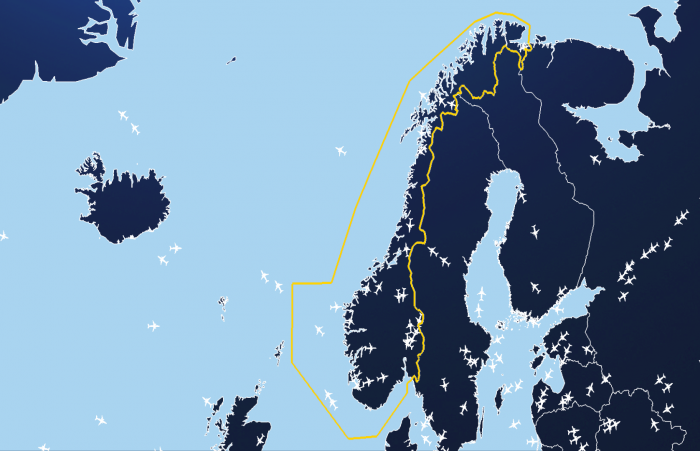 Map of Norway airspace