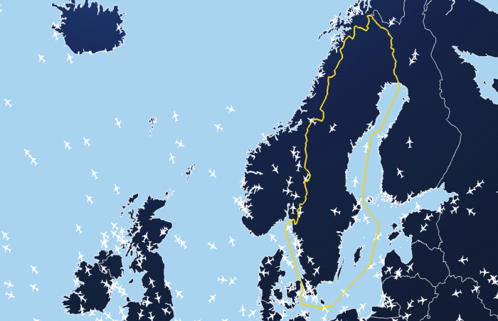 Map of Swedish air traffic